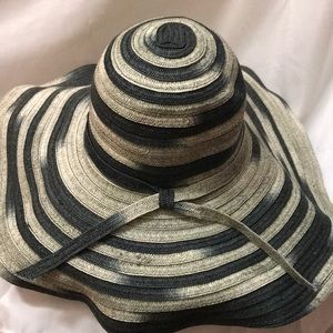 Navy Grey and Taupe Floppy Hat